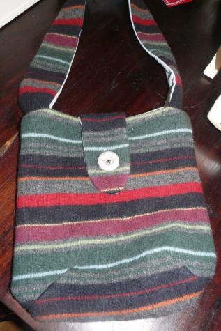upcycled bag Bobbins and buttons