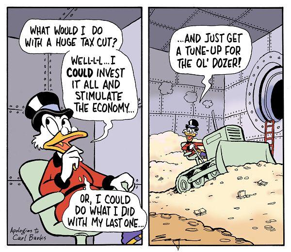 Scrooge McDuck in his vault saying,