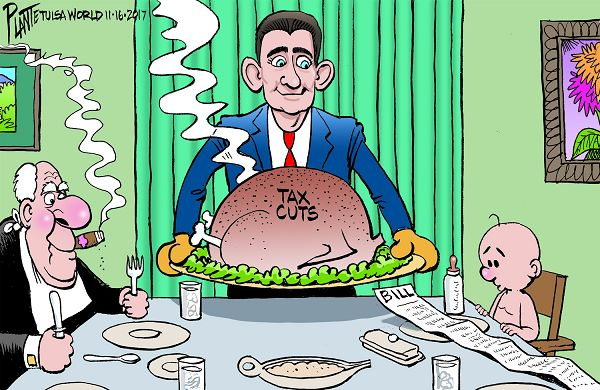Paul Ryan servers huge Thanksgiving turkey to a table.  Seated at the table is a plutocrat with a knife and fork and an infant eyeing the bill for the tax cuts.