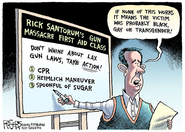 Rick Santorum pointing to poster,