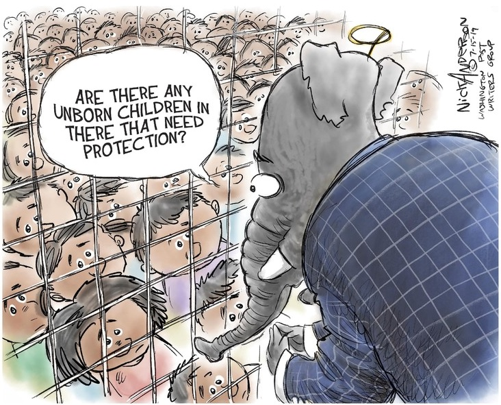 Republican Elephant peering in the cage full of migrant children asking,