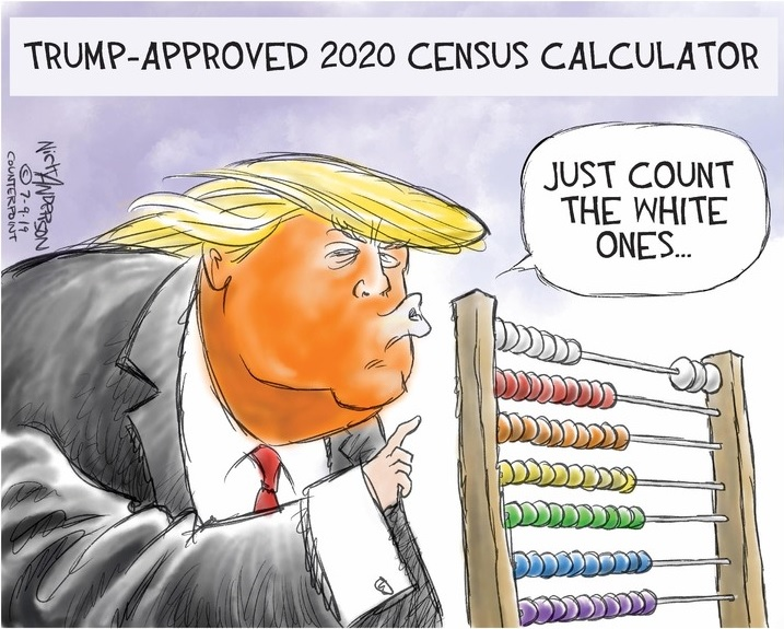 Title:  Trump Approved 2020 Census Calculator.  Image:  Donald Trump looking at an abacus with beads of different colors, saying,
