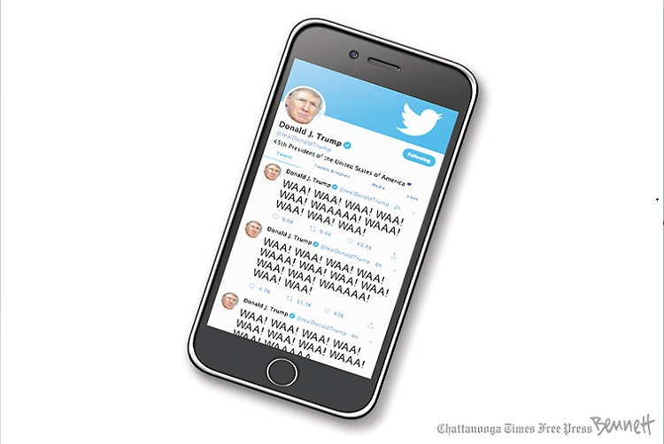 Cell phone displaying series of tweets by Donald Trump, all of which are variations on