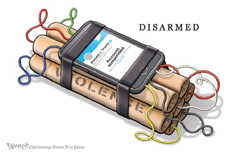 Title:  Disarmed.  Image:  Sticke of dynamite wire to a cellphone detonator showing Twitter page of Donald J. Trump with the statement,