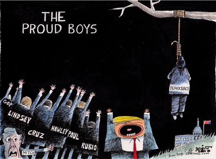 Title:  Proud Boys.  Image:  Body labeled