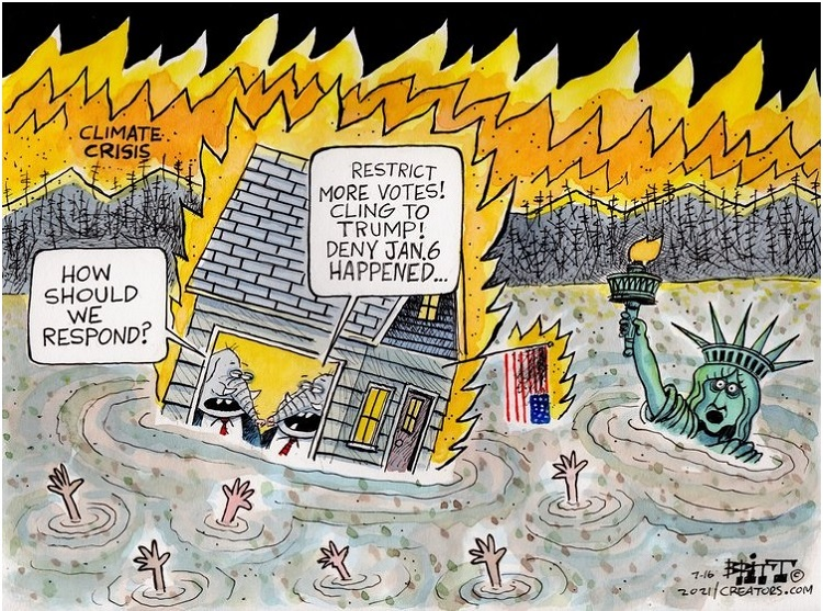 As the world burns and drowns from climate change, two Republican elephants debate what to do.  One says,