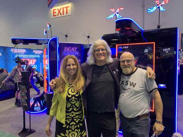 Bob, Forbes writer Charlie Fink and HP's Head of VR Joanna Popper at IAAPA