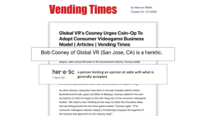 Bob Cooney is a heretic - Vending Times article by Marcus Webb.