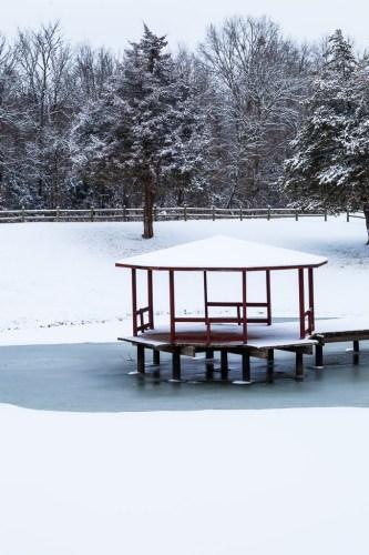 Snow on the pavillion and trees, Burns Park, Arkansas