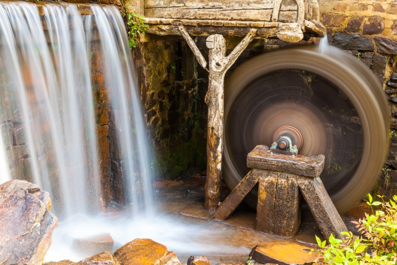 10125. Spinning wheel and waterfall, North Little Rock, Arkansas