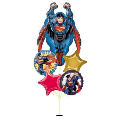 [Superman] Flying Superman Happy Birthday Balloon Bouquet