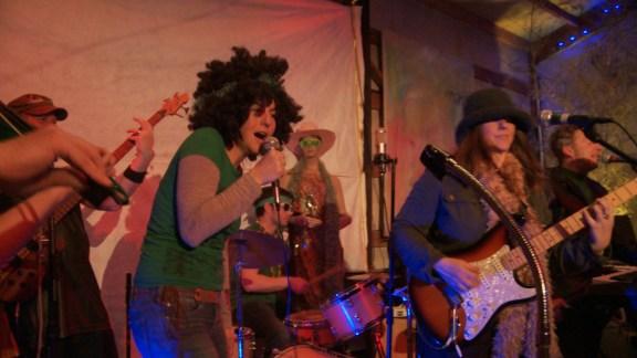 Green Jelena (Kelly Grotke) lets 'er rip. With Phil Heaven, Brett Steelhammer and Cheri Nunamaker