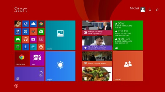 Ekran startowy w Windows 8.1