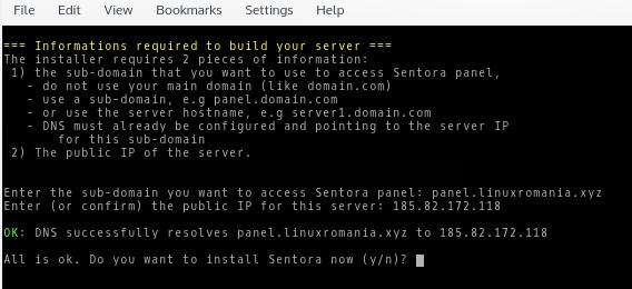 Mesaj OK pentru continuarea instalării