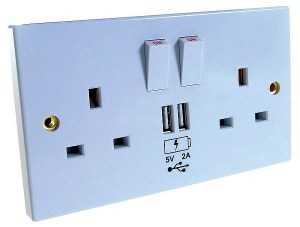 Mains wall sockets with built in USB chargers