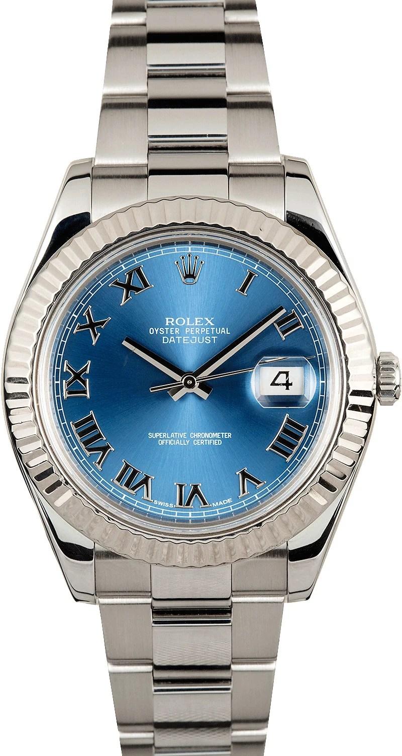 Rolex Datejust II Blue Roman Dial 116334