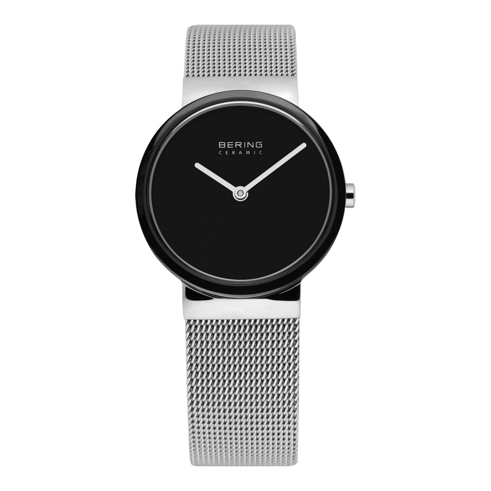 bering watch with black face and mesh band