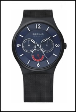 Men's Bering watch with blue face and black band