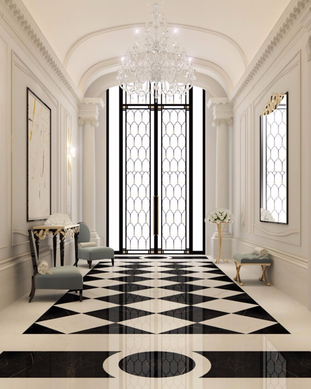 10 Dreamy Interiors With Black And White Checkered Floor