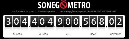 """""""Sonegômetro"""" mostra que calote aos cofres públicos passa de R$ 300 bilhões"""