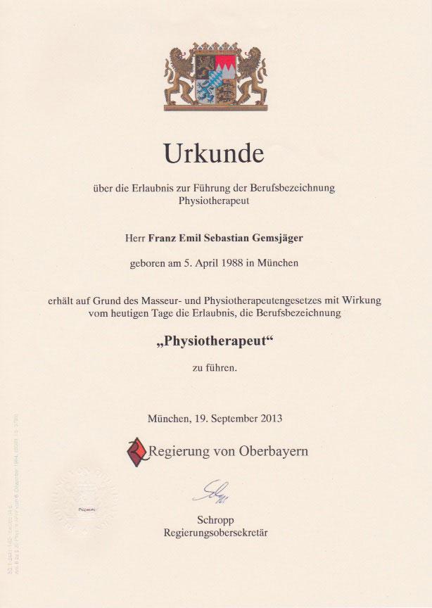 Regierung Oberbayern - Urkunde (19.09.2013)