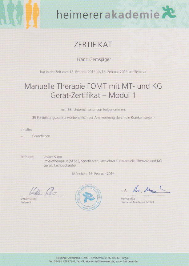 heimerer akademie - Zertifikat (16.02.2014)