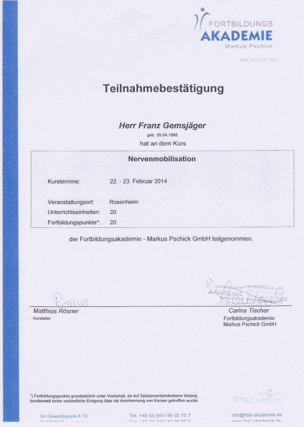Fortbildungsakademie Pschick - Zertifikat (23.02.2014)