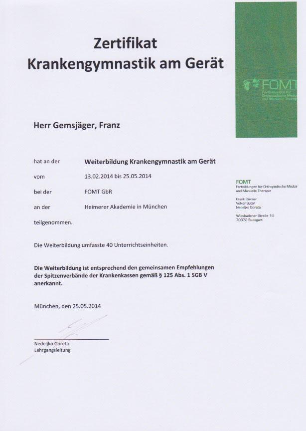 FOMT - Zertifikat (25.05.2014)
