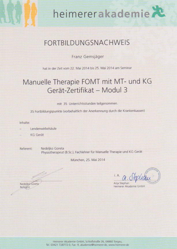 heimerer akademie - Zertifikat (25.05.2014)