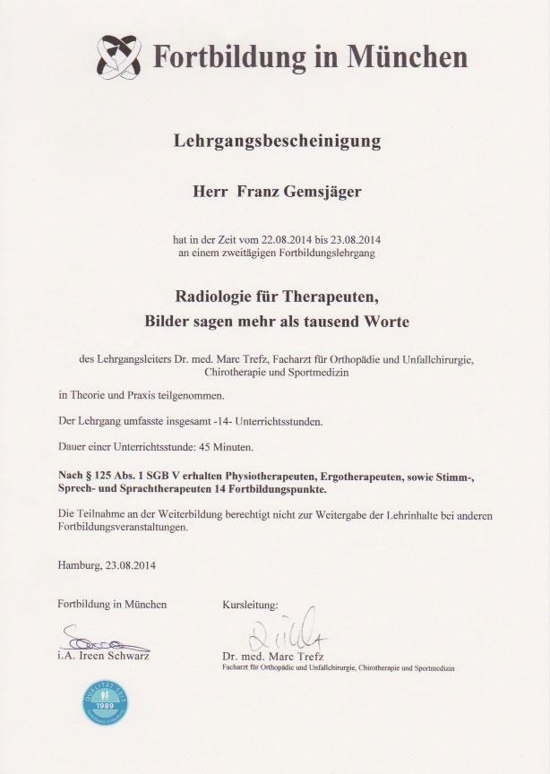 Fortbildung in München - Zertifikat (23.08.2014)