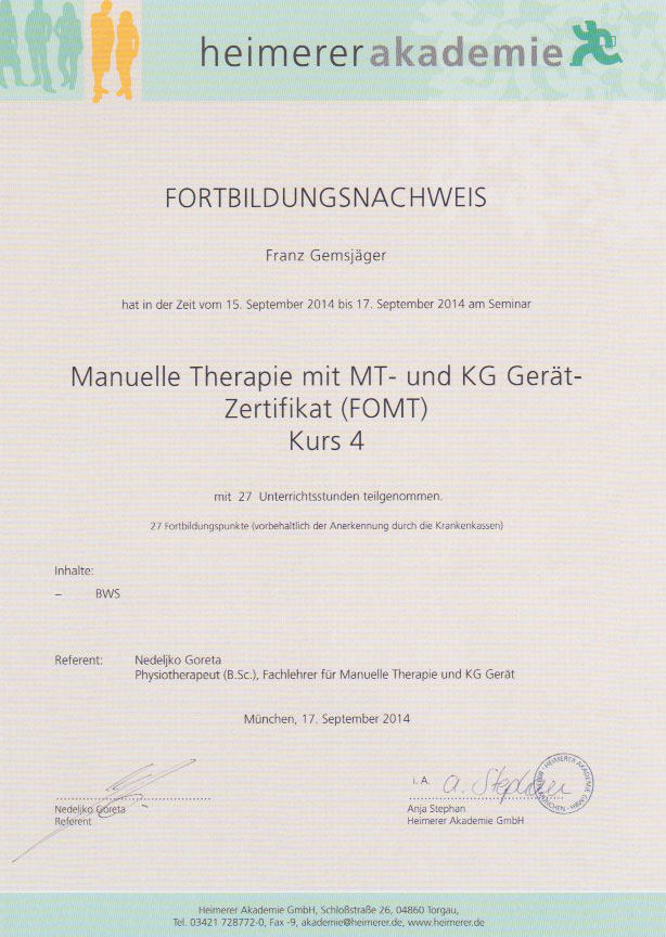 heimerer akademie - Zertifikat (17.09.2014)