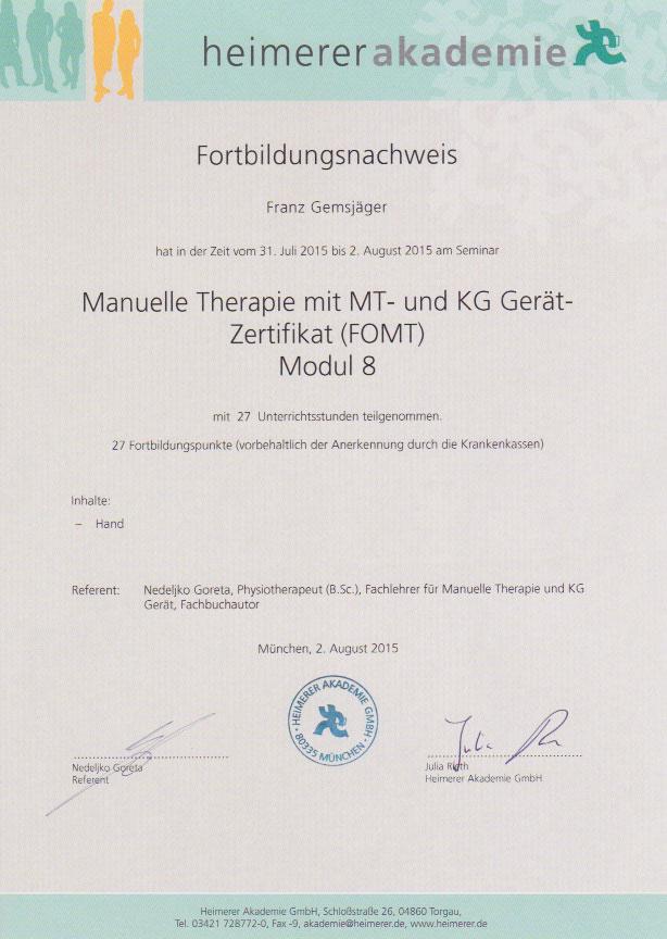 heimerer akademie - Zertifikat (02.08.2015)