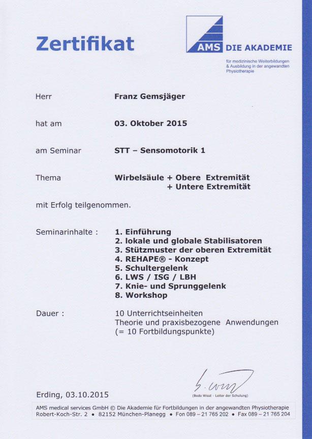 AMS - Zertifikat (03.10.2015)