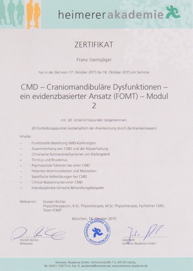 heimerer akademie - Zertifikat (18.10.2015)