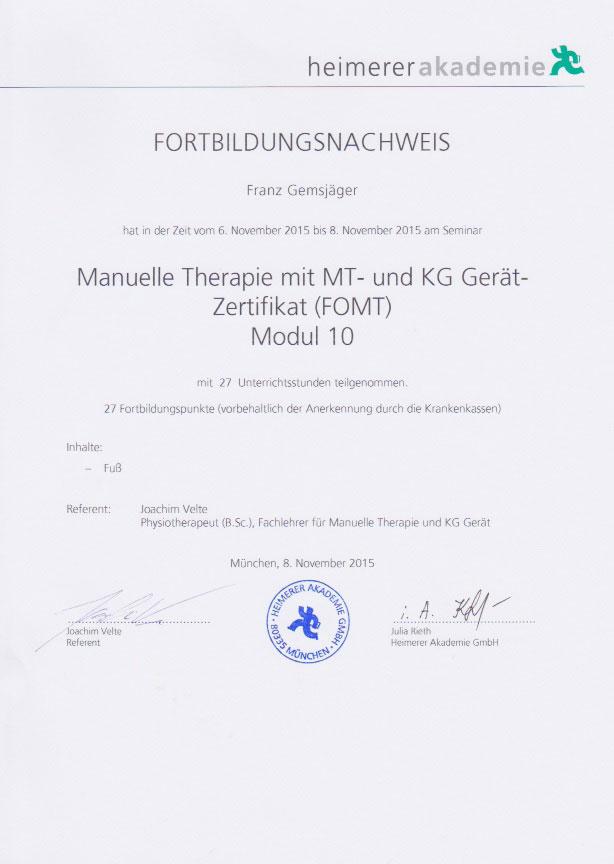 heimerer akademie - Zertifikat (08.11.2015)