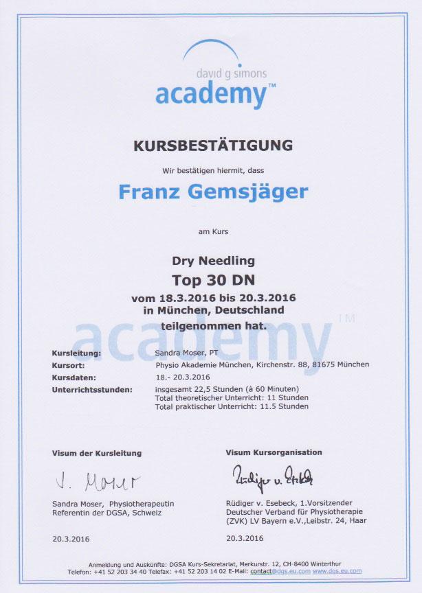 david dimons academy - Zertifikat (20.03.2016)