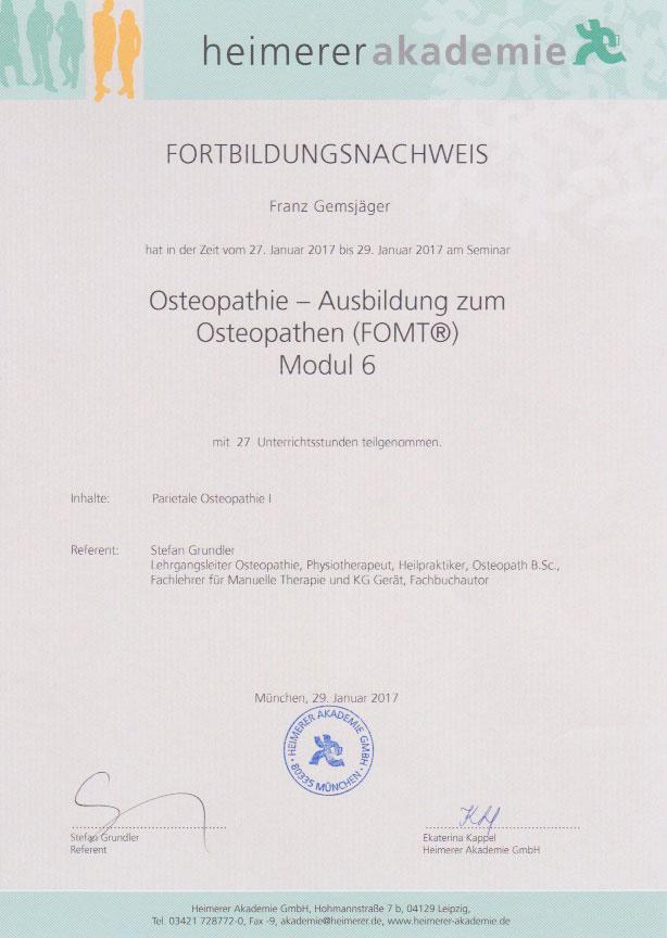 heimerer akademie - Zertifikat (29.01.2017)