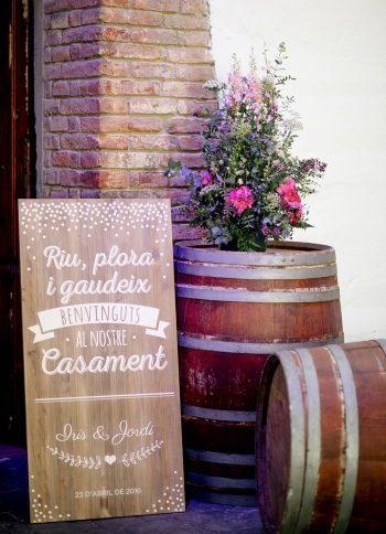 cartel bienvenida boda madera www.bodasdecuento.com