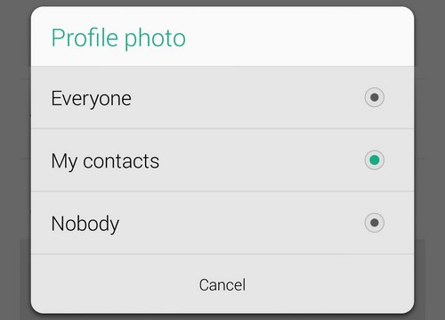 Whatsapp privacy profile photo