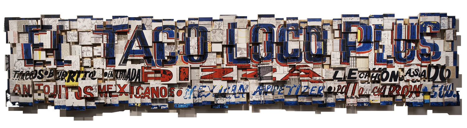 """El Taco Loco Plus (2006), mixed media photographic collage on russian baltic birch multi-ply plywood, 120""""x24"""", corporate collection, Switzerland"""