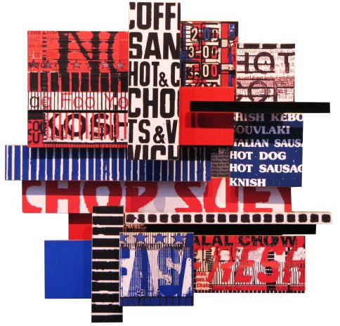 "Hot Fast & Fresh, 2010, photographic collage on salvaged plywood, 20""x20"""