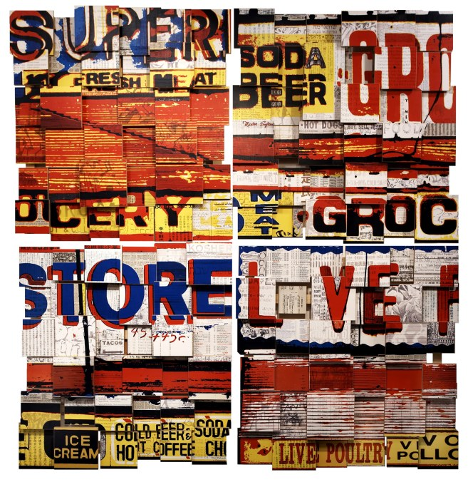 "Super Live (2006), mixed media photographic collage on russian baltic birch multi-ply plywood, 72""x72"", private collection, Switzerland"