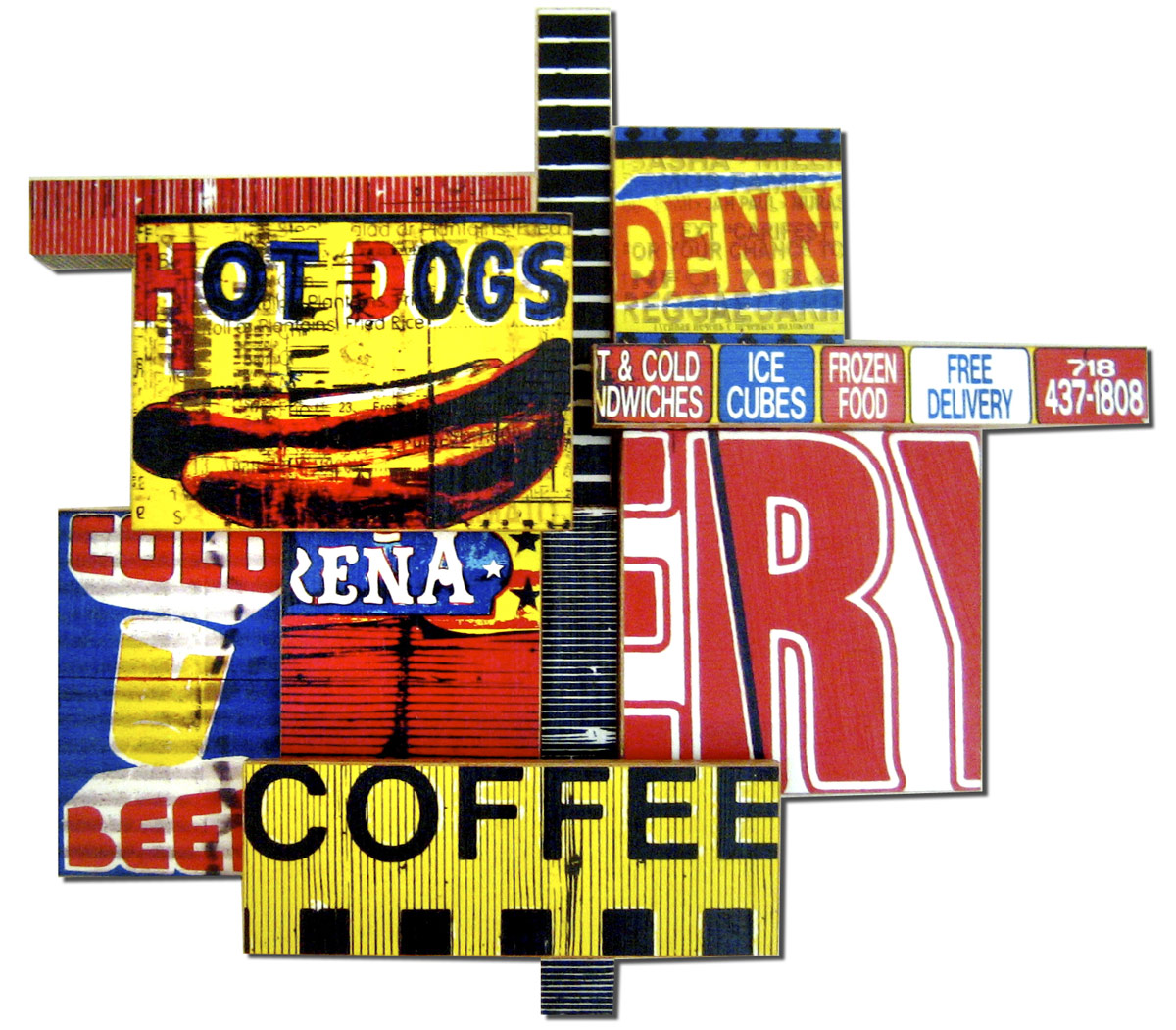 """Coffee Cubes (2008), 'U Pick I Stick ' mixed media photographic collage on salvaged plywood, 20""""x20"""", private collection, Zurich"""