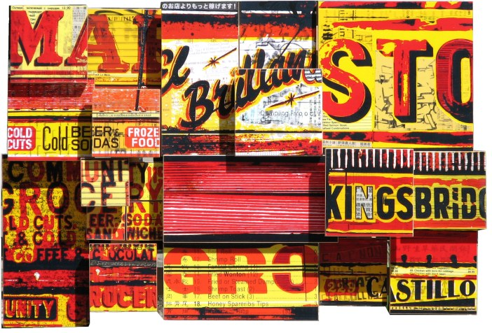 "Cold Cut King (2007), mixed media photographic collage on Russian baltic birch multi-ply plywood, 24""x16"""