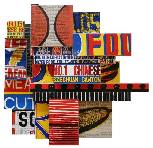 """Los No. 1 Meats (2008), mixed media photographic collage on salvaged plywood, 26""""x27"""""""