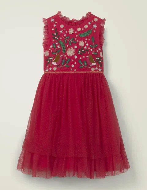 Red tule dress