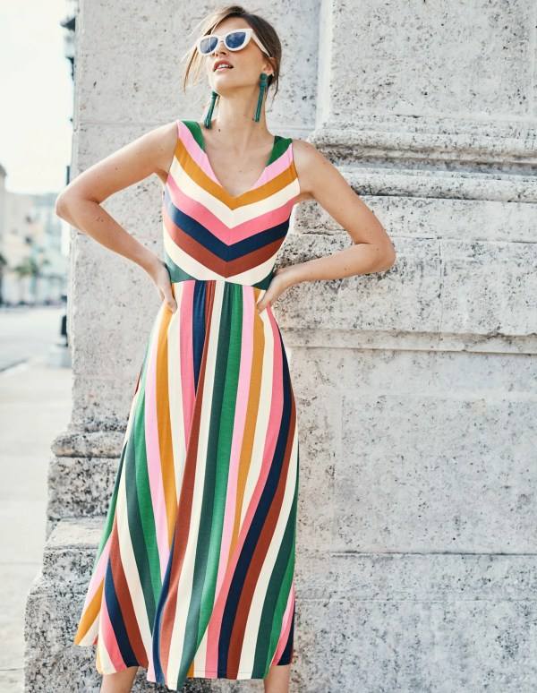 Octavia Jersey Midi Dress - Multi Stripe