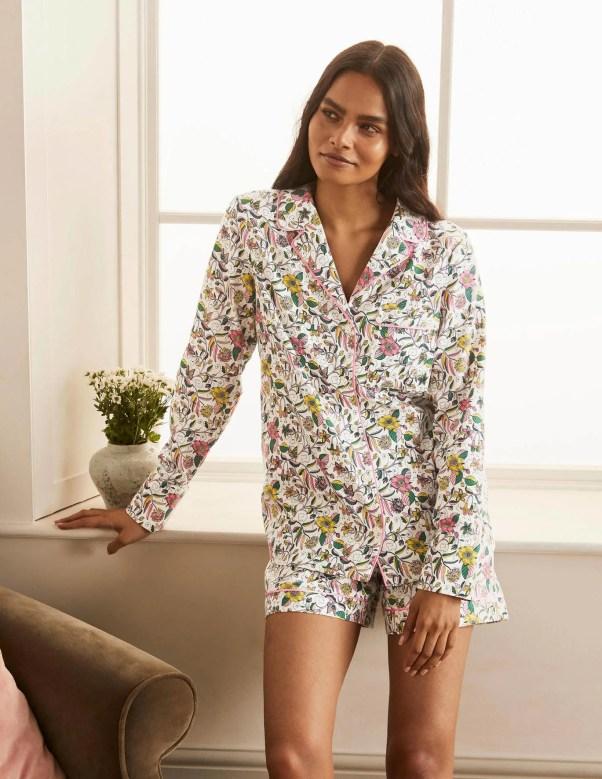 Janie Pyjama Shirt - Ivory, Beautiful Garden Boden