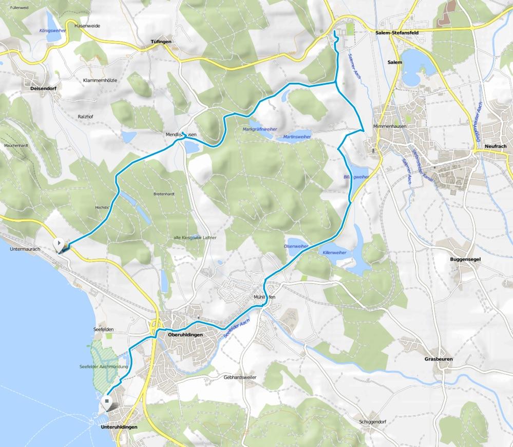 Karte Bodensee-Radweg Abstecher Affenberg Salem