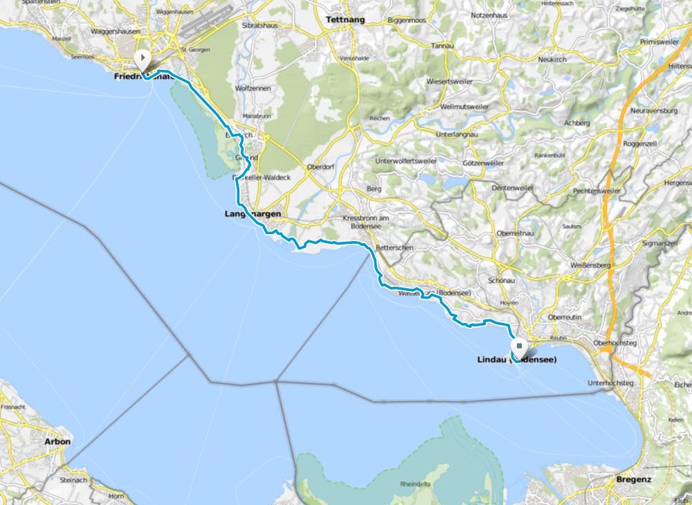 Karte Bodensee-Radweg Etappe 3